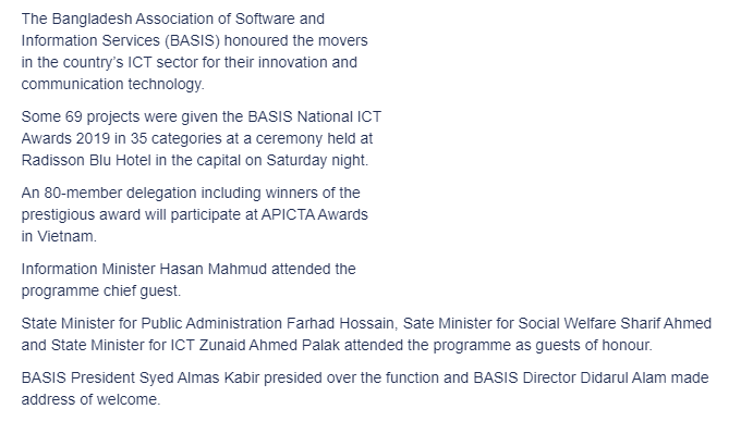 BASIS honours ICT heroes in capital 3